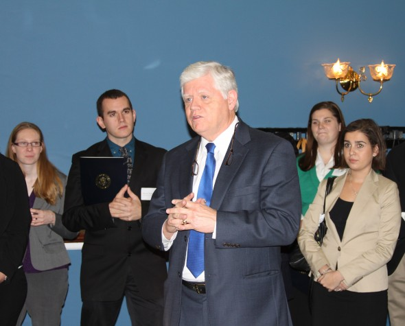 Students meet with U.S. Representative John Larson (D-CT) during a visit to museum in Washington, D.C.